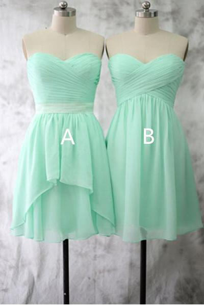Mint Green Bridesmaid Gown,Pretty Prom Dresses,Chiffon Prom Gown,Simple Bridesmaid Dress,Cheap Evening Dresses,Fall Wedding Gowns,Short Bridesmaid Dresses