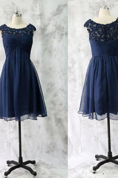 Lace Bridesmaid Dress,Short Bridesmaid Gown,Navy Blue Bridesmaid Gowns,Wedding Bridesmaid Dresses,Chiffon Bridesmaid Gowns,Vintage Brides Dress,Dark Navy Bridesmaid Gowns