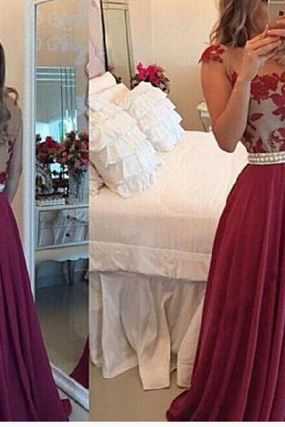 Burgundy Prom Dresses,Backless Prom Dress,Lace Prom Dress,Wine Red Prom Dresses,2016 Formal Gown,Open Back Evening Gowns,Open Backs Party Dress,Chiffon Prom Gown For Teens