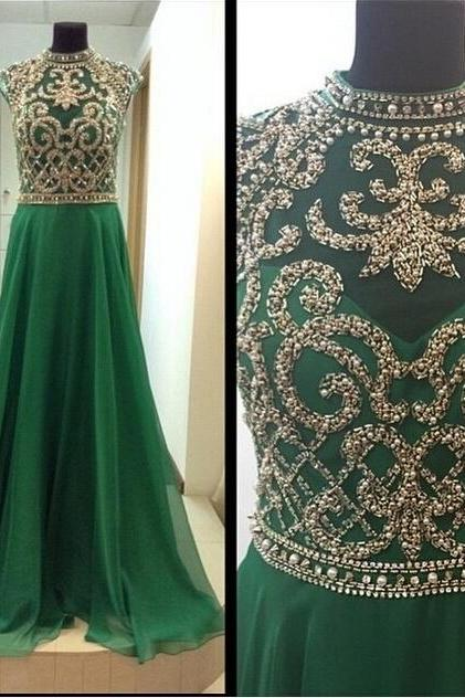 Green Prom Dress,A line Prom Dress,Chiffon Prom Gown,Backless Prom Dresses,Sexy Evening Gowns,Cap Sleeves Evening Gown,Open Back Party Dress,Beaded Formal Gowns For Teens