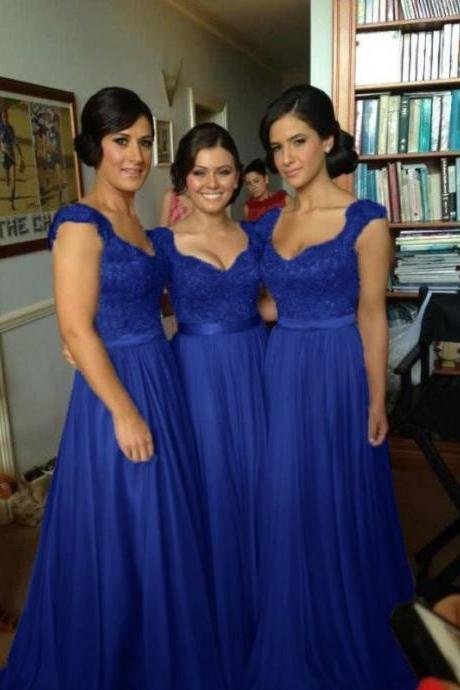 Lace Bridesmaid Dress,Long Bridesmaid Gown,Royal Blue Bridesmaid Gowns,Simple Bridesmaid Dresses,Cap Sleeves Bridesmaid Gowns,Chiffon Bridesmaid Gowns