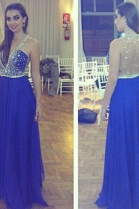 Royal Blue Prom Dresses,V neckline Evening Dress,Backless Prom Dress,Prom Dresses With Straps,Charming Prom Gown,Open Back Prom Dress,2016 New Fashion Evening Gowns for Teens