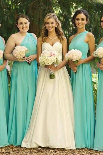 One Shoulder Bridesmaid Gown,Pretty Prom Dresses,Chiffon Prom Gown,Simple Bridesmaid Dress,Blue Bridesmaid Dress,Cheap Evening Dresses,Fall Wedding Gowns,2016 Beautiful Bridesmaid Gowns