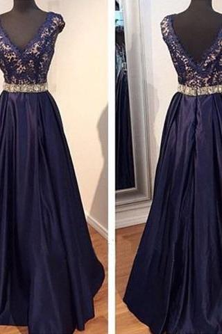 Navy BlueProm Dresses,V neckline Prom Dress,Sexy Prom Dress,Dark Navy Prom Dresses,2016 Formal Gown,Lace Evening Gowns,Taffeta Party Dress,Prom Gown For Teens