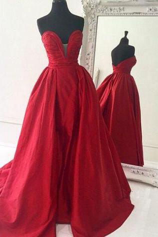 Red Prom Dresses,Simple Prom Dress,Sexy Prom Dress,Cheap Prom Dresses,2016 Formal Gown,Satin Evening Gowns,Ball Gown Party Dress,Prom Gown For Teens