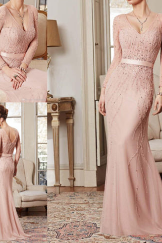 Light Pink Prom Dresses,Beaded Prom Gowns,Pink Prom Dresses 2016,Chiffon Party Dresses,Long Prom Gown,Charming Evening Dress With Long Sleeves,Sparkly Party Gown