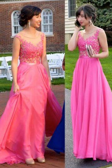 Lace Prom Dresses,Hot Pink Prom Dress,Modest Prom Gown,A Line Prom Gown,Lace Evening Dress,Cap Sleeves Evening Gowns,New Fashion Party Gowns