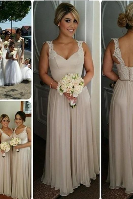 Lace Bridesmaid Dress,Long Bridesmaid Gown,Straps Bridesmaid Gowns,Simple Bridesmaid Dresses,Cheap Bridesmaid Gowns,Vintage Brides Dress, Spring Bridesmaid Gowns