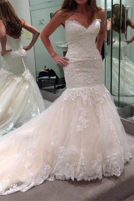 White Wedding Dresses,Sweetheart Wedding Gown,Lace Wedding Gowns,Princess Bridal Dress,Mermaid Wedding Dress,Beautiful Brides Dress,Romantic Wedding Gowns For Spring