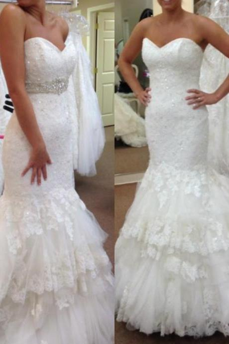 White Wedding Dresses,Sweetheart Wedding Gown,Lace Wedding Gowns,Princess Bridal Dress,Mermaid Wedding Dress,Beautiful Brides Dress,Romantic Wedding Gowns,Wedding Gowns For Spring