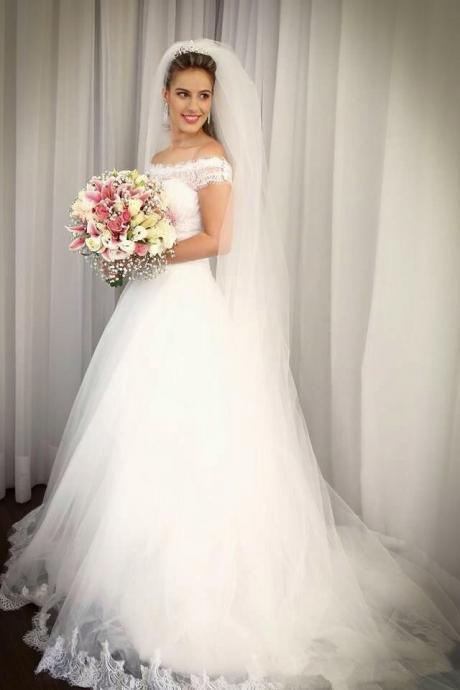 White Wedding Dresses,Off The Shoulder Wedding Gown,Lace Wedding Gowns,Princess Bridal Dress,Romantic Ball Gown Wedding Dress,Beautiful Brides Dress