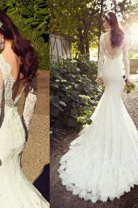 White Wedding Dresses,Long Sleeves Wedding Gown,Lace Wedding Gowns,Ball Gown Bridal Dress,Princess Wedding Dress,2016 Beautiful Brides Dress With Long Train,Backless Wedding Gowns,Open Back Wedding Dress