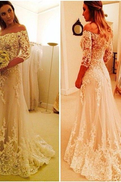 White Wedding Dresses,Wedding Gown With Sleeves,Lace Wedding Gowns,Romantic Bridal Dress,Princess Wedding Dress,2016 Beautiful Brides Dress,Long Wedding Gowns,Spring Wedding Dress