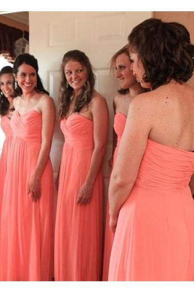 Coral Bridesmaid Gown,Simple Prom Dresses,Chiffon Prom Gown,Simple Bridesmaid Dress,Cheap Evening Dresses,Fall Wedding Gowns,Cheap Bridesmaid Dresses,Sweetheart Bridesmaid Gown For Wedding