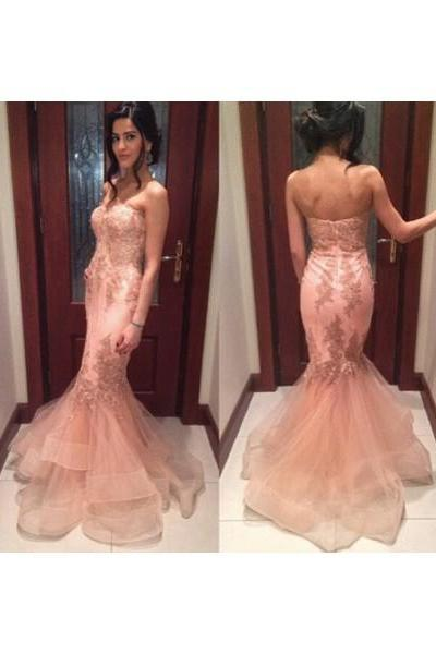 Pink Prom Dresses,Tulle Prom Dress,Sexy Prom Dress,Mermaid Prom Dresses,2016 Formal Gown,Lace Evening Gowns,Elegant Party Dress,Long Prom Gown For Senior Teens