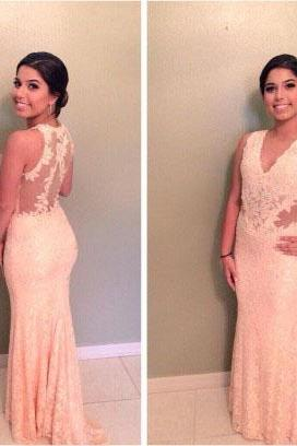 Blush Pink Prom Dresses,Lace Prom Dress,Sexy Prom Dress,Mermaid Prom Dresses,2016 Formal Gown,Backless Evening Gowns,Elegant Party Dress,Long Prom Gown For Senior Teens