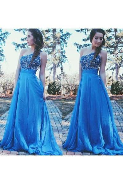 One Shoulder Prom Dresses,Lace Evening Dress,Chiffon Prom Dress,Royal Blue Blue Prom Dresses,2016 Prom Gown,Elegant Prom Dress,New Fashion Evening Gowns for Teens