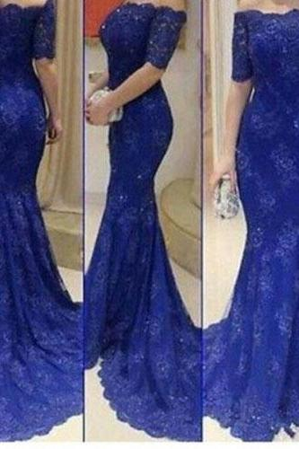 Royal Blue Prom Dresses,Lace Evening Dress,Long Prom Dress,Prom Dresses With Half Sleeves,Charming Prom Gown,Modest Prom Dress,Mermaid Fashion Evening Gowns for Teens