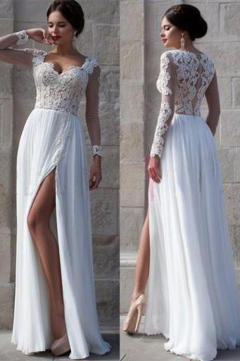 White Wedding Dresses,Long Sleeves Wedding Gown,Lace Wedding Gowns,Slit Bridal Dress,2016 Princess Wedding Dress,Beautiful Brides Dress,Chiffon Wedding Gowns For Spring Summer