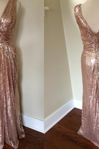 Sequin Bridesmaid Dress,Long Bridesmaid Gown,Sequined Bridesmaid Gowns,Sequins Bridesmaid Dresses,V neckline Bridesmaid Gown,Modest Bridesmaid Gown