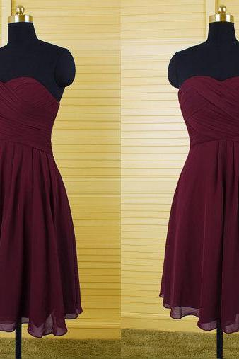 Burgundy Bridesmaid Dresses,Knee Length Bridesmaid Gown,Summer Bridesmaid Gowns,Beach Bridesmaid Dress,Cheap Bridesmaid Gown,Wine Red Bridesmaid Dress For Modest Brides
