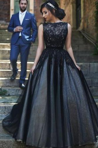 Black Prom Dresses,2016 Prom Dress,Lace Prom Dress,Tulle Prom Dresses,2016 Formal Gown,Simple Evening Gowns,Unique Party Dress,Lace Prom Gown,Ball Gown Evening Gowns For Teens