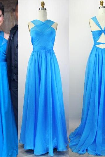 Blue Prom Dresses,Backless Evening Gowns,Sexy Formal Dresses,Halter Prom Dresses,2016 Fashion Evening Gown,Open Backs Evening Dress