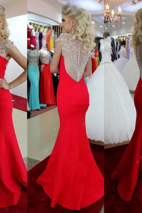 Backless Prom Dresses,Red Prom Dress,Backless Prom Gown,Open Back Prom Dresses,Open Backs Evening Gowns,2016 Evening Gown With Cap sleeves For Teens Girls