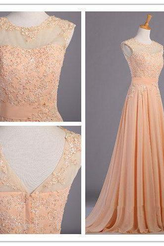 Sexy Prom Dresses,V neck Evening Dresses,2016 New Fashion Prom Gowns,Elegant Prom Dress,Princess Prom Dresses,Chiffon Evening Gowns,Peach Formal Dress,Peach Evening Gown