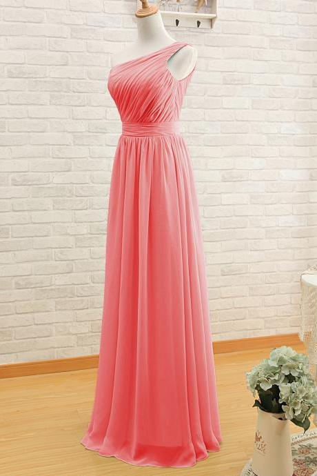 One Shoulder Bridesmaid Gown,Pretty Prom Dresses,Chiffon Prom Gown,Simple Bridesmaid Dress,Coral Bridesmaid Dress,Cheap Evening Dresses,Fall Wedding Gowns,2016 Bridesmaid Gowns