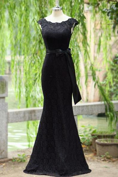 Black Prom Dress,Mermaid Prom Dress,Lace Prom Gown,SimpleProm Dresses,Sexy Evening Gowns,Cap Sleeves Evening Gown,Modest Party Dress For Teens