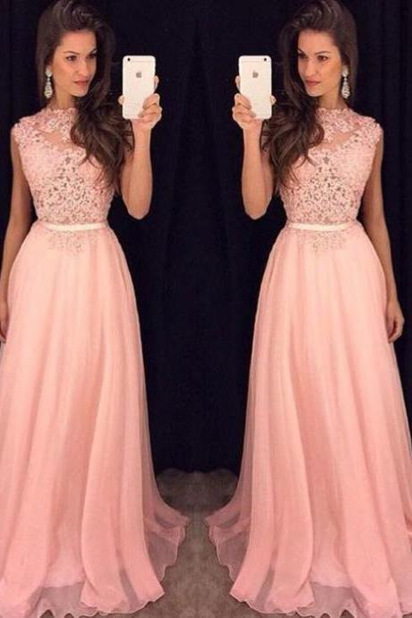 Blush Pink Prom Dresses,A-Line Prom Dress,Lace Prom Dress,Simple Prom Dress,Chiffon Prom Dress,Simple Evening Gowns,Cheap Party Dress,Elegant Prom Dresses,2016 Formal Gowns For Teens