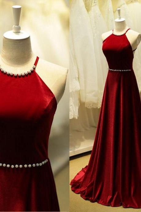 Burgundy Prom Dresses,Backless Prom Dress,Taffeta Prom Dress,Wine Red Prom Dresses,2016 Formal Gown,Open Back Evening Gowns,Open Backs Party Dress,Beaded Prom Gown For Teens