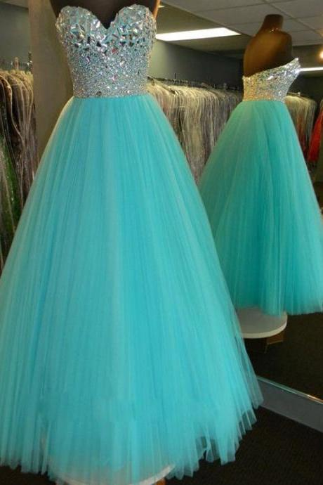 Blue Prom Dress,Ball Gown Prom Dress,Princess Prom Gown,Beaded Prom Dresses,Sexy Evening Gowns,2016 New Fashion Evening Gown,Sexy Graduation Dress For Teens