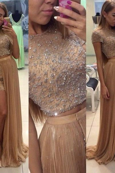 Champagne Prom Dresses,2 Pieces Prom Gowns,2 piece Prom Dresses,Chiffon Prom Dresses,A Line Prom Gown,2016 Prom Dress,Cap Sleeves Evening Gonw With Silver Beading For Teens