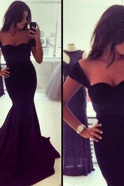Black Prom Dress,Mermaid Prom Dresses,Simple Prom Gown,Sweetheart Prom Dresses,Sexy Evening Gowns,2016 Evening Gown,Cap Sleeves Formal Dress For Teens