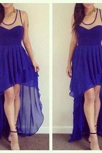 High Low Prom Dresses,Chiffon Prom Dress,Royal Blue Prom Gown,Vintage Prom Gowns,Elegant Evening Dress,Cheap Evening Gowns,Simple Party Gowns,Modest Prom Dress