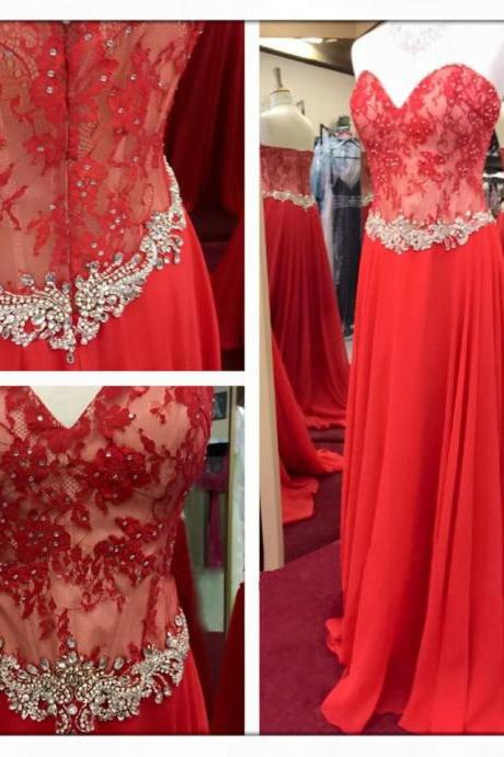 2016 Fashion Prom Dresses,Red Prom Dress,Chiffon Formal Gown,Red Prom Dresses,Lace Evening Gowns,A Line Formal Gown For Teens