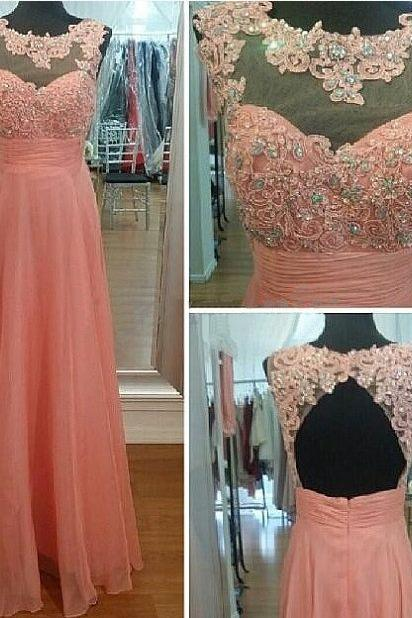 Blush Pink Prom Dresses,Chiffon Backless Prom Dress,A Line Prom Dress,Long Prom Gown With Lace,Elegant Prom Dresses,Open Backs Party Dress