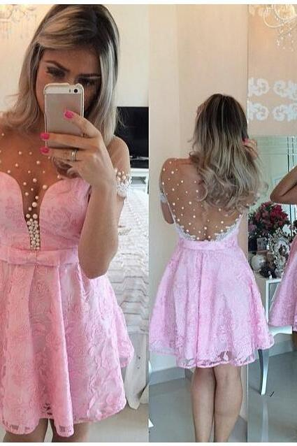 Pink Homecoming Dress,Lace Homecoming Dress,Cute Homecoming Dress,New Fashion Homecoming Dress,Short Prom Dress,Charming Homecoming Gowns,New Style Sweet 16 Dress,Short Evening Gowns