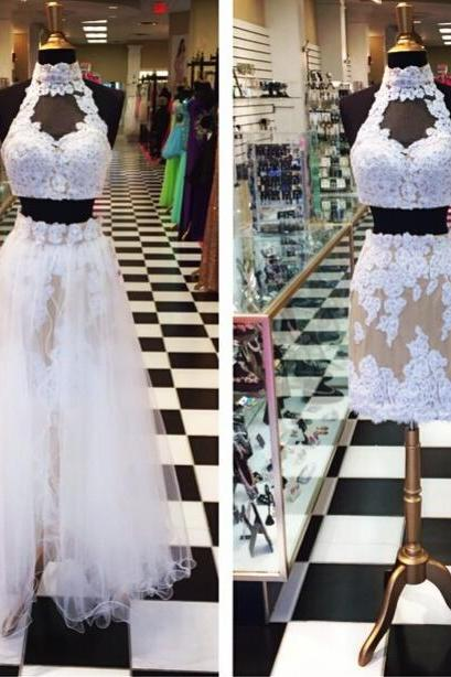 2 Piece Prom Gown,Two Piece Prom Dresses,White Lace Evening Gowns,2 Pieces Party Dresses,Tulle Evening Gowns,Straps Formal Dress,Champagne Evening Gown For Teens