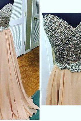 Beading Prom Dresses,Champagne Prom Dress,Sweetheart Prom Gown,ChiffonProm Dresses,2016 Evening Gowns,Sexy Formal Gown For Teens Girls