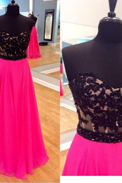 Black Lace Prom Dresses,Pink Prom Dress,Lace Prom Dress,Simple Prom Dresses,2016 Formal Gown,A Line Evening Gowns,Simple Party Dress,Chiffon Prom Gown For Teens