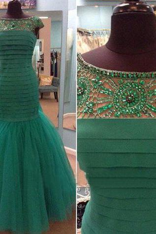 Tulle Prom Dress,Mermaid Prom Dress,Unique Prom Gown,Cap Sleeves Prom Dresses,Sexy Evening Gowns,Beading Evening Gown,2016 Party Dress,Modest Formal Gowns For Teens