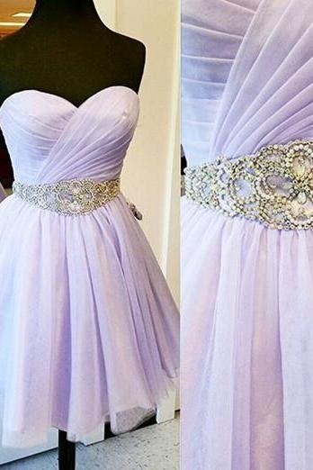 Lavender Prom Dresses,Tulle Prom Gowns,Backless Prom Dresses,Short Party Dresses,Prom Gown,Open Back Prom Dress,Sparkly Homecoming Gowns,Backless Prom Gowns,Beaded Bodice Evening Gowns