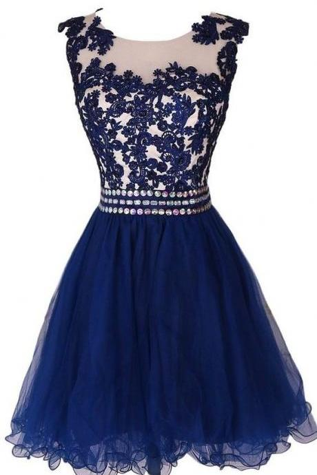 Homecoming Dress,Tulle Homecoming Dress,Cute Homecoming Dress,Lace Homecoming Dress,Short Prom Dress,Navy Blue Homecoming Gowns,Beaded Sweet 16 Dress