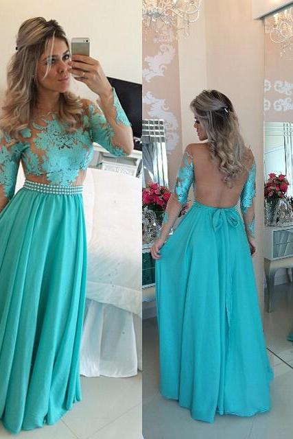 Blue Prom Dresses,Lace Evening Dress,Sexy Prom Dress,Backless Prom Dresses With Long Sleeves,Charming Prom Gown,Open Back Prom Dress,2016 Fashion Chiffon Evening Gowns for Teens