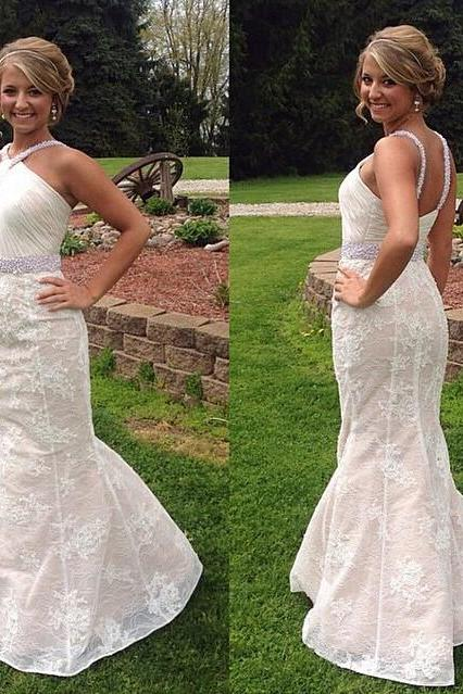 White Prom Dresses,Mermaid Prom Dress,Lace Prom Dress,Open Back Prom Dress,Backless Prom Dress,2016 Evening Gowns,Modest Party Dress,Elegant Prom Dresses,Lace Formal Gowns For Teens