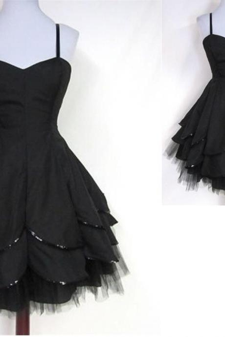 Black Homecoming Dress,Tulle Homecoming Dresses,Spaghetti Straps Homecoming Gowns,Party Dress,Short Prom Gown,Sweet 16 Dress,Modest Homecoming Dresses,Sexy Evening Gowns For Teens