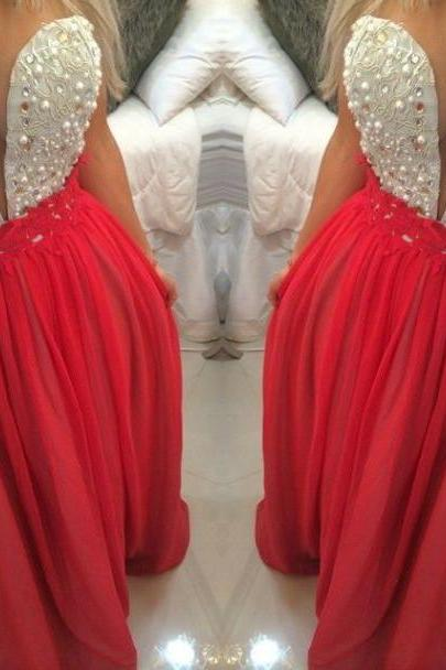 Red Prom Dresses,Charming Evening Dress,Coral Prom Gowns,Lace Prom Dresses,2016 New Prom Gowns,Red Evening Gown,Backless Party Dresses